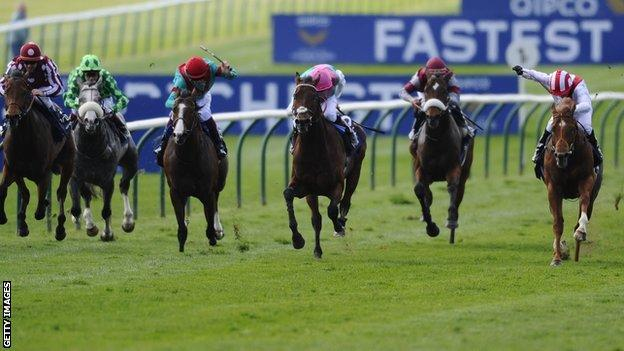 Night Of Thunder (second from right) beats Kingman (right) to win the 2,000 Guineas at Newmarket in May