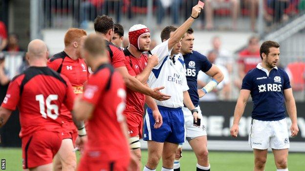 Canada's Jebb Sinclair is red-carded against Scotland