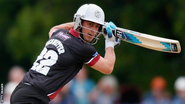 Craig Kieswetter on his way to scoring 70 for Somerset against Sussex