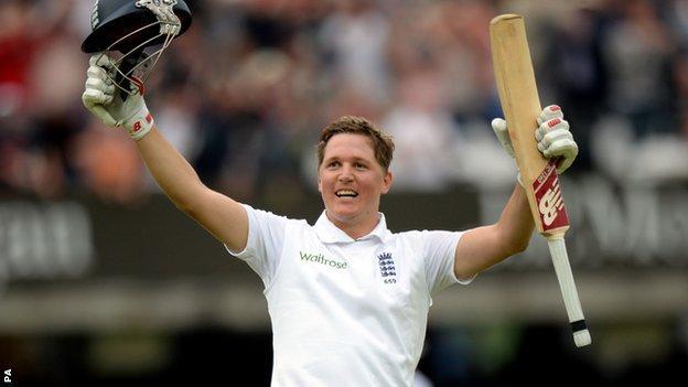 England's Gary Ballance celebrates his maiden Test century