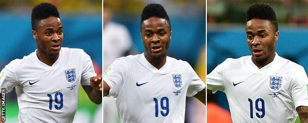 Raheem Sterling looks focused during England's opening World Cup match against Italy.