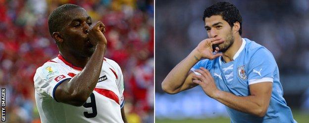 Joel Campbell & Luis Suarez celebrate scoring