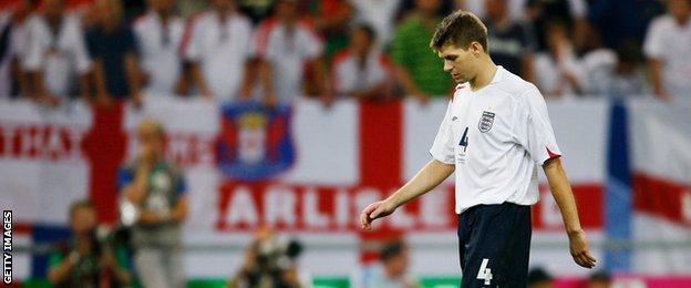 England's Steven Gerrard after losing to Portugal during the 2006 World Cup in Germany