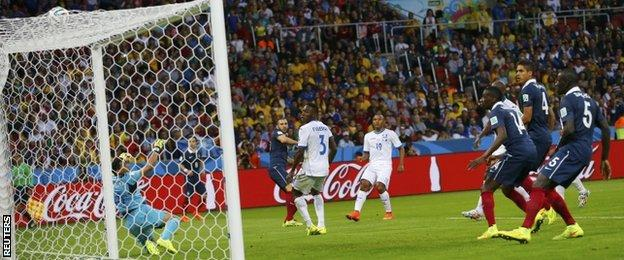 Karim Benzema scores his third goal
