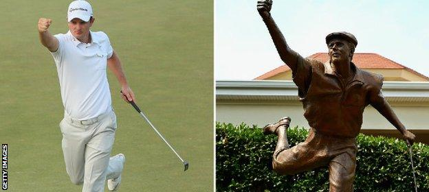 Justin Rose marked the end of his final round by mimicking the statue of 1999 champion Payne Stewart