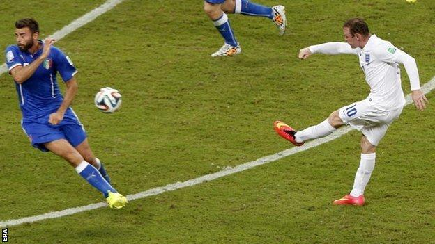 Wayne Rooney shoots from outside the box against Italy