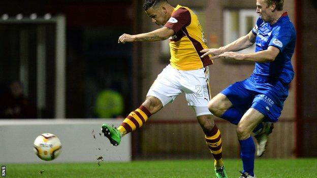Winger Lionel Ainsworth nets for Motherwell against Inverness Caledonian Thistle.