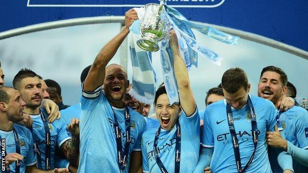 Man City celebrating