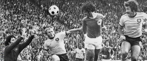 West Germany's Gerd Muller scores against Australia at the 1974 World Cup.