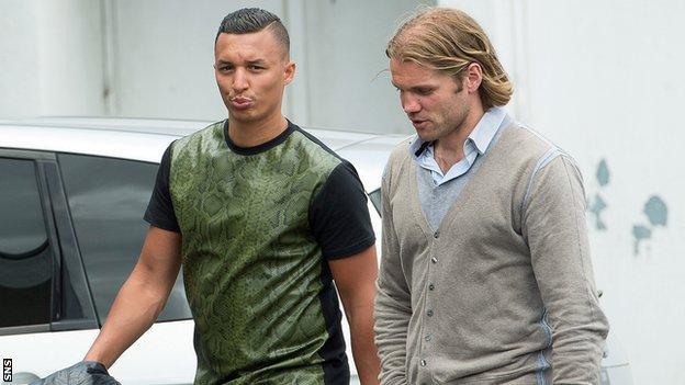 Soufian El Hassnaoui (left) and Hearts head coach Robbie Neilson