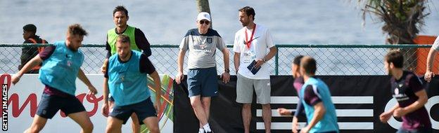 England training next to the beach.