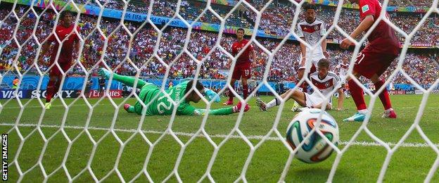 Thomas Muller completes his hat-trick against Portugal