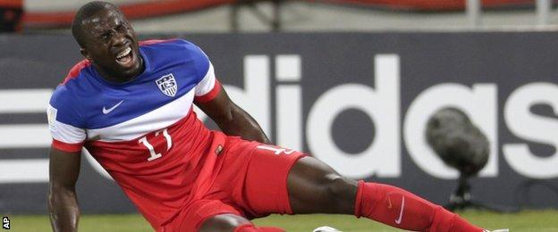 USA striker Jozy Altidore had to go off injured against Ghana