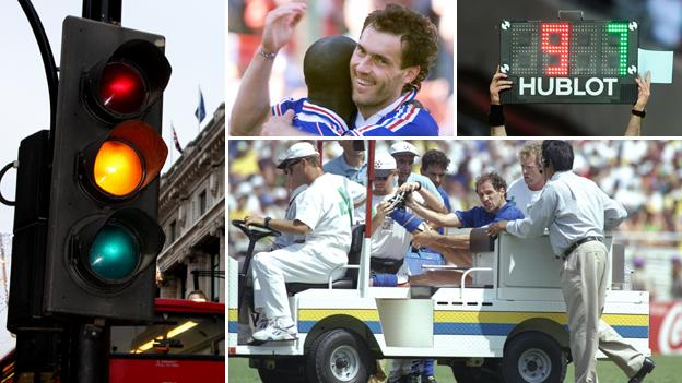 A traffic light, France's Laurent Blanc celebrates his golden goal, a substitute board is held up and Franco Baresi is carried off on an injury cart