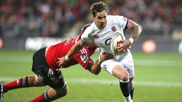 England fly-half Danny Cipriani on the attack against the Crusaders