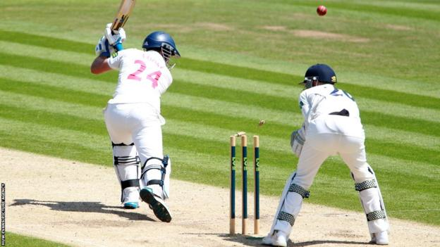 Glamorgan's Chris Cooke is bowled out for 96 on day two of their County Championship match with Kent at the Swalec Stadium.