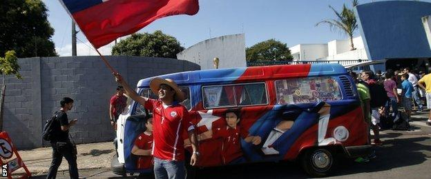 A Chile fan outside the Maracana