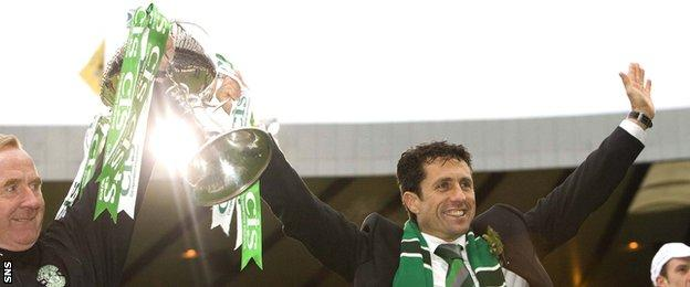 John Collins with the League Cup during his spell in charge of Hibernian