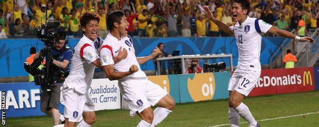 Lee Keun-ho celebrates his goal for South Korea.