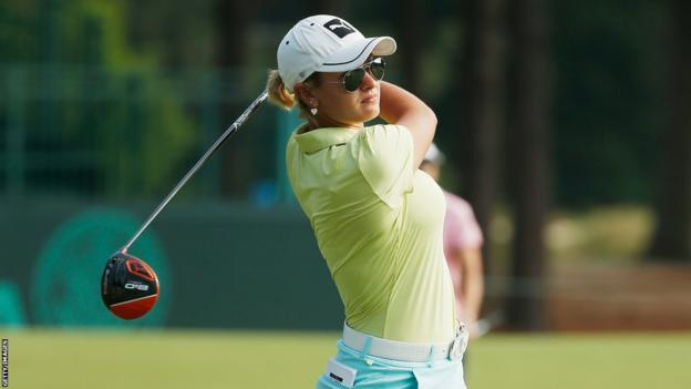 Amy Boulden of Wales hits a shot during a practice round prior to the start of the 69th US Women's Open at Pinehurst.
