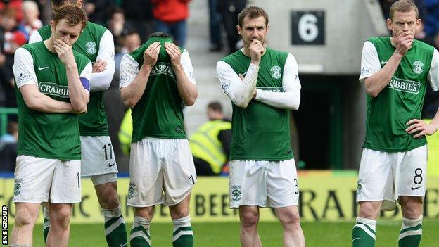 Hibernian were relegated following a penalty shoot-out loss in the play-offs