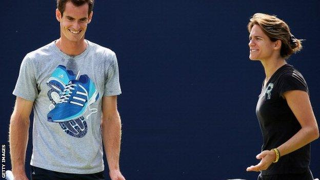 Andy Murray (left) with Amelie Mauresmo