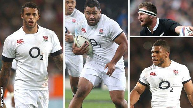 Clockwise from left: England second row Courtney Lawes, England number eight Billy Vunipola, New Zealand number eight Kieran Read and England inside centre Kyle Eastmond