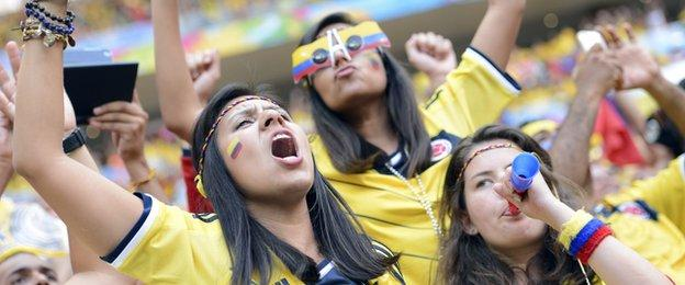 Colombia fans at their sides win over Ivory Coast