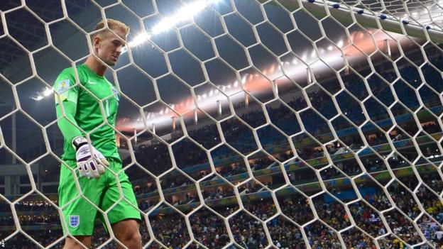 England goalkeeper Joe Hart after Louis Suarez scores for Uruguay at the World Cup
