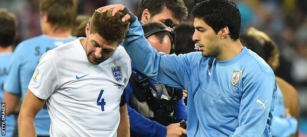 World Cup: England v Uruguay - Luis Suarez and Steven Gerrard