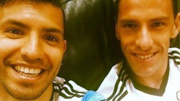 Sergio Aguero (left) with Maxi Rodriguez