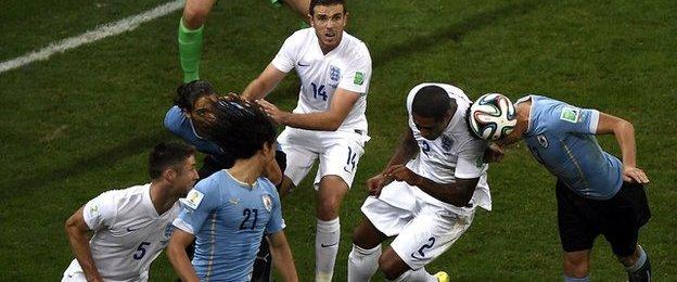 England defenders defend a corner