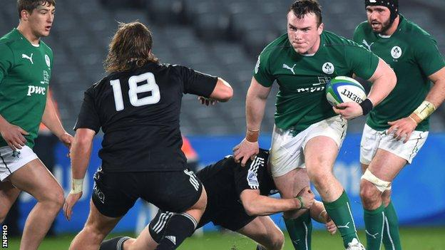 Peter Dooley on the attack for Ireland