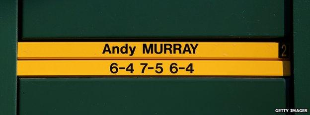 The Wimbledon scoreboard features the result of the 2013 final