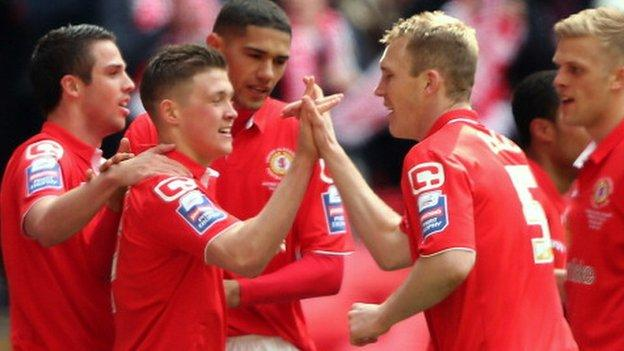 Max Clayton celebrates his goal for Crewe in their Johnstone's Paint Trophy final win at Wembley, April 2013