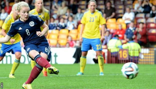 Kim Little scores a spot-kick against Sweden but Scotland lost out 3-1 against Pia Sundhage's side