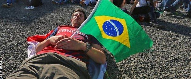 Fans at the Fifa Fan Fest watch the Australia v Netherlands match in Porto Alegre