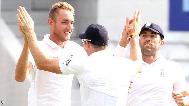 Stuart Broad celebrates his ha-trick against Sri Lanka at Headingley