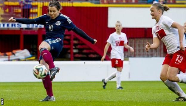 Leanne Crichton scores in Scotland's 2-0 win over Poland