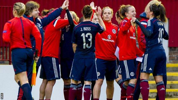 Scotland players celebrate their 2-0 triumph over Poland in World Cup 2015 qualifying