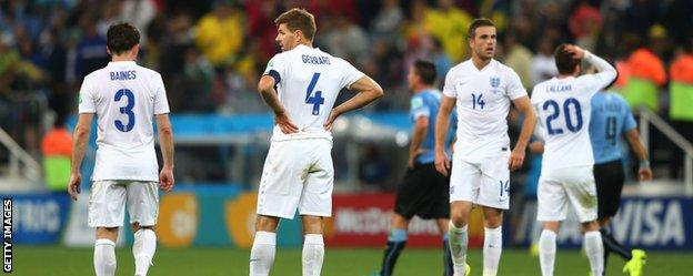 England dejected after Uruguay defeat