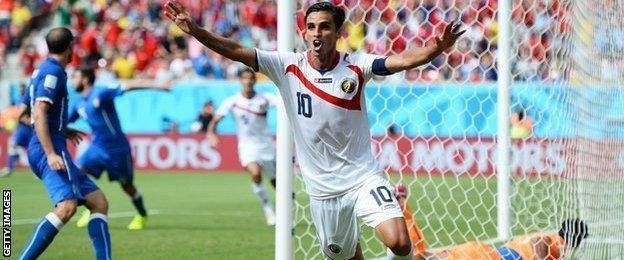 Costa Rica's Bryan Ruiz celebrates scoring against Italy