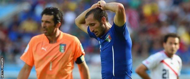 Italy defender Giorgio Chiellini in action against Costa Rica
