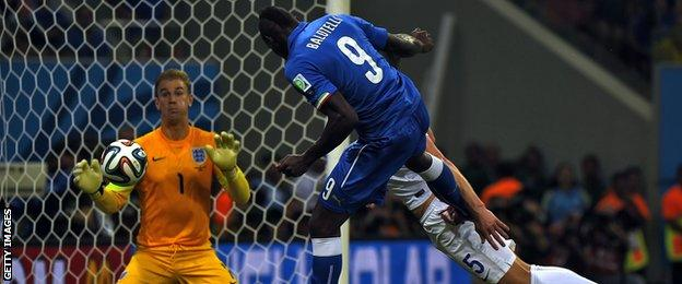 Italy striker Mario Balotelli scores the winner for his country against England in the opening group game between the two sides at the 2014 Fifa World Cup