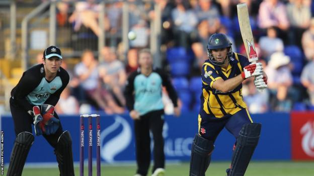 Jim Allenby plays a shot during Glamorgan's 17-run defeat to Surrey in the T20 Blast at the Swalec Stadium.