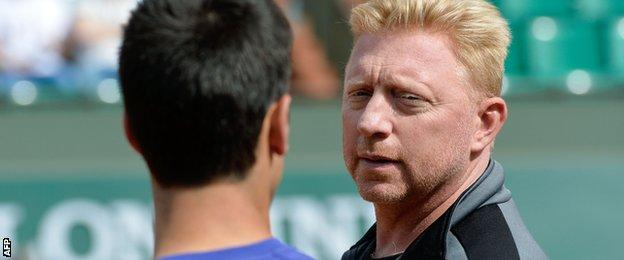 Becker (right) has linked up with Djokovic