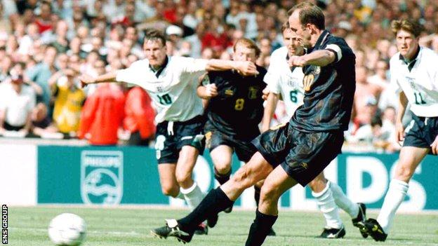 Gary McAllister missed from the penalty spot against England at Euro 96