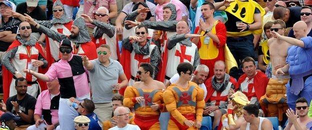England fans in fancy dress at Headingley