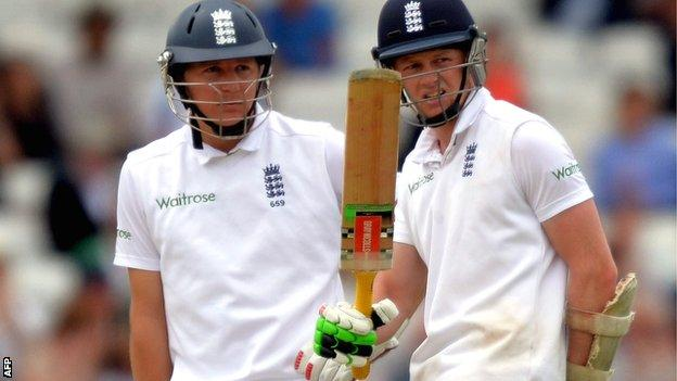 England's second-wicket pair Gary Ballance (left) and Sam Robson put on 142 at Headingley