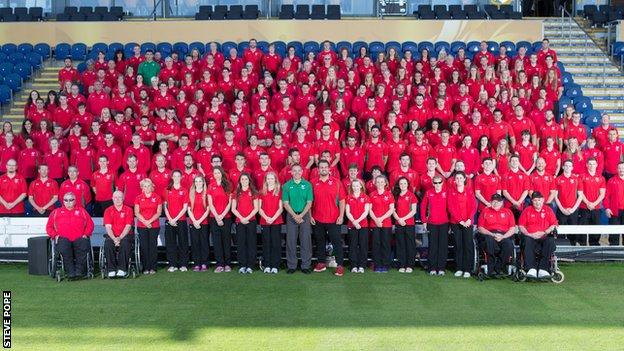 Team Wales pictured at the Swalec Stadium